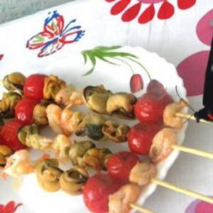 Средиземноморский шашлычок из морепродуктов