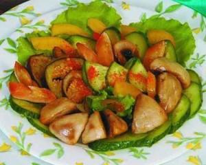 Теплый салат из баклажанов и шампиньонов
